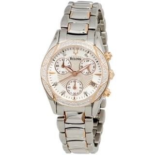 Bulova Women's Diamond 98R149 Mother of Pearl Stainless-Steel Quartz Chronograph Watch