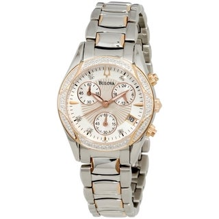 Bulova Women's Diamond 98R149 Mother-Of-Pearl Stainless-Steel Quartz Watch