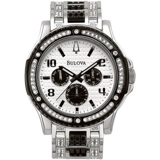 Bulova Men's Crystal Day-Date 98C005 Silver Stainless-Steel Analog Quartz Watch with White Dial