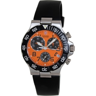 Victorinox Swiss Army Men's SUMMIT XLT 241340 Black Rubber Swiss Quartz Watch with Orange Dial