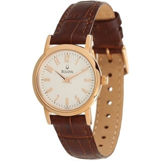 Bulova Women's 97L121 Brown Calf Skin Quartz Watch with White Dial