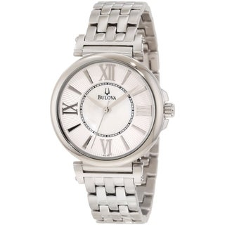 Bulova Women's Dress Silvertone Bracelet Mother Of Pearl Dial Watch