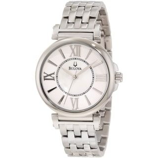 Bulova Women's Dress 96L156 Silver Stainless-Steel Quartz Watch with Mother-Of-Pearl Dial
