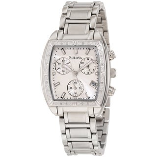 Bulova Women's Diamond 96R163 Silver Stainless-Steel Quartz Watch with Silver Dial