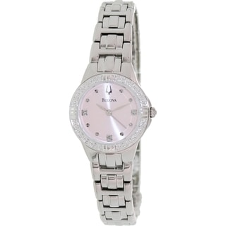 Bulova Women's Diamond Silvertone Bracelet Pink Dial Watch