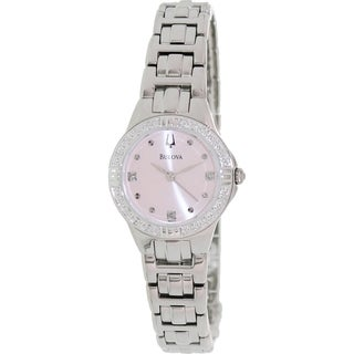 Bulova Women's Diamond 96R171 Silver Stainless-Steel Quartz Watch with Pink Dial