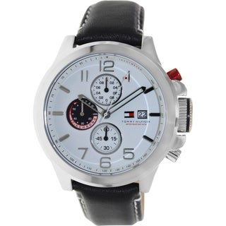 Tommy Hilfiger Men's Black Leather Strap White Dial Analog Quartz Watch