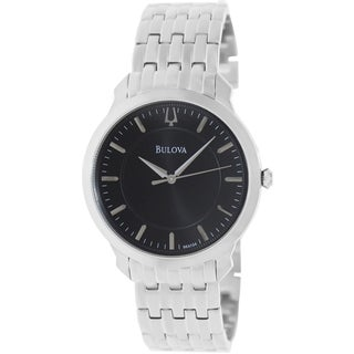 Bulova Men's Thin Silvertone Bracelet Black Dial Watch