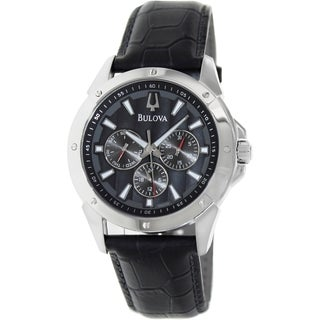 Bulova Men's Sport Black Leather Strap Grey Dial Watch