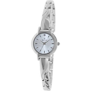 Bulova Women's Diamond 96P139 Silver Stainless-Steel Quartz Watch with Silver Dial