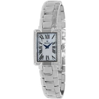 Bulova Women's Fairlawn Silvertone Bracelet White Dial Watch