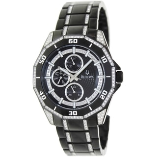 Bulova Men's Crystal Black Stainless-Steel Bracelet Black Dial Watch