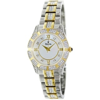 Bulova Women's Crystal 98L135 Two-Tone Stainless-Steel Analog Quartz Watch with Mother-Of-Pearl Dial