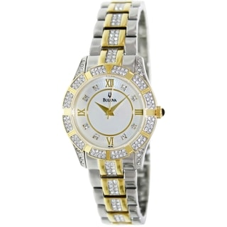 Bulova Women's Crystal Two-Tone Bracelet Mother-Of-Pearl Dial Watch