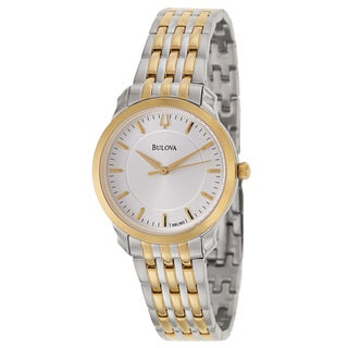 Bulova Women's Thin Two-Tone Bracelet Silvertone Dial Watch
