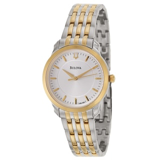 Bulova Women's 98L160 Thin Two-Tone Bracelet Silvertone Dial Watch