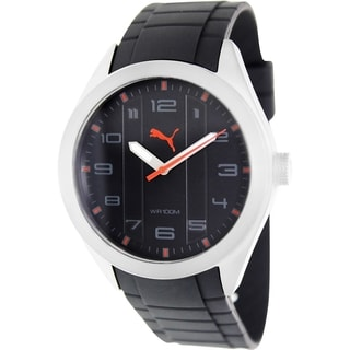 Puma Men's Pace Black Rubber Strap Black Dial Watch