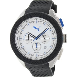 Puma Men's Octane Black Rubber Strap Silvertone Dial Analog Quartz Watch