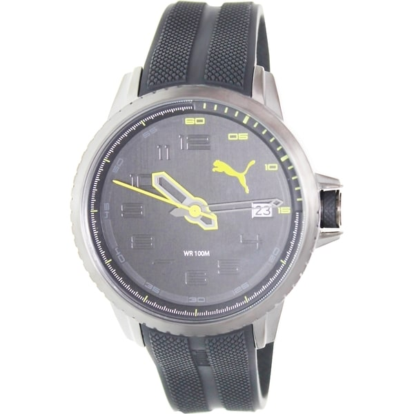 Puma Men's Turbine Black Rubber Strap Black Dial Watch