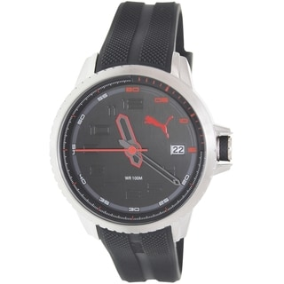 Puma Men's Turbine Black Rubber Strap Black Dial Analog Quartz Watch