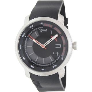 Puma Men's Overdrive Black Silicone Strap Black Dial Watch