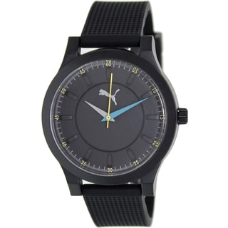 Puma Men's Mono Black Rubber Strap Black Dial Analog Quartz Watch