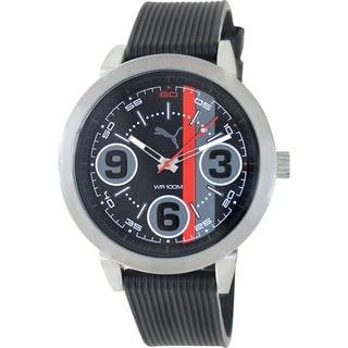 Puma Men's 369 Black Rubber Strap Black Dial Analog Quartz Watch