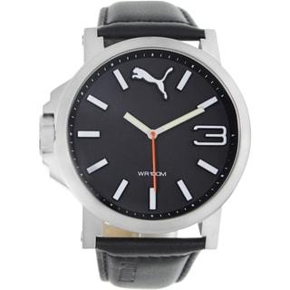 Puma Men's Ultrasize Black Leather Strap Black Dial Analog Quartz Watch
