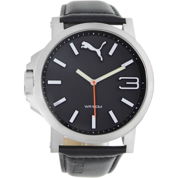 Puma Men's Ultrasize Black Leather Strap Black Dial Analog Quartz Watch