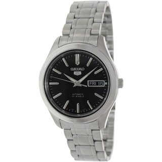 Seiko Men's Silver Stainless Steel Automatic Watch with Black Dial