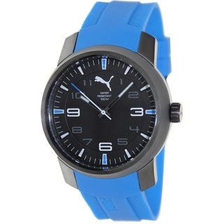 Puma Men's Essence Blue Polyurethane Strap Black Dial Watch