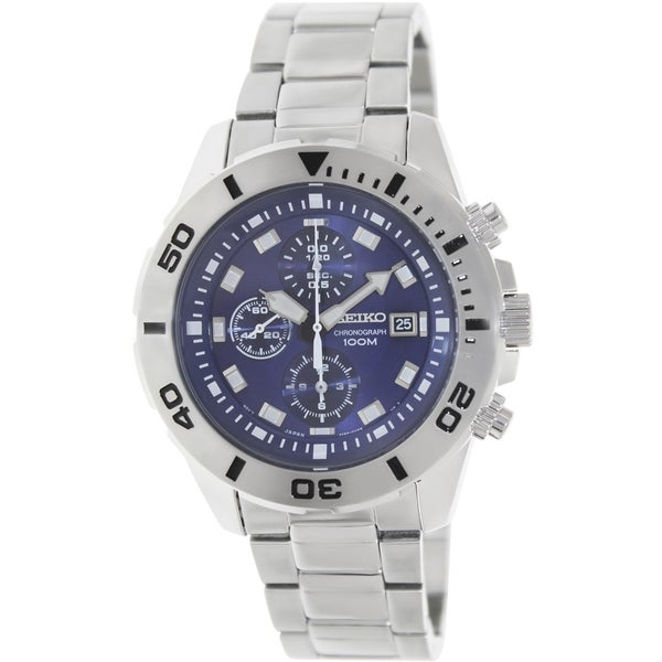 Seiko Men's Silvertone Bracelet Blue Dial Watch