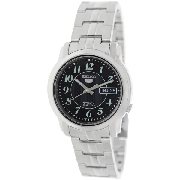 Seiko Men's 5 Silvertone Bracelet Black Dial Watch