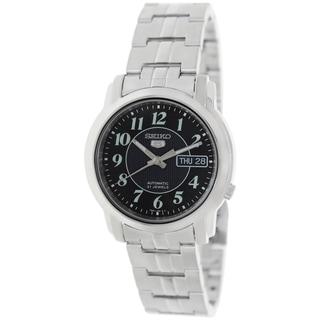 Seiko Men's 5 Silvertone Bracelet Black Dial Watch