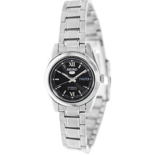 Seiko Women's 5 Automatic Silvertone Stainless-Steel Bracelet Black Dial Watch