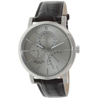 Kenneth Cole Men's Dress Sport Brown Leather Strap Grey Dial Watch
