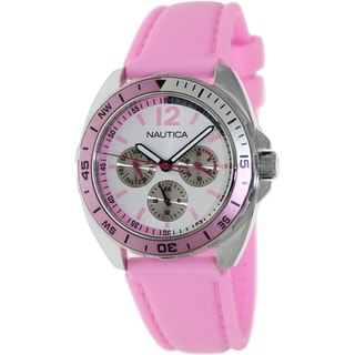 Nautica Women's Sport Ring Pink Silicone Strap Silvertone Dial Watch
