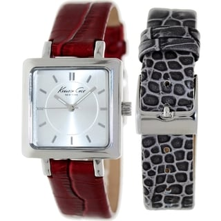 Kenneth Cole Women's KC6063 Red Leather Silver Dial and Quartz Watch