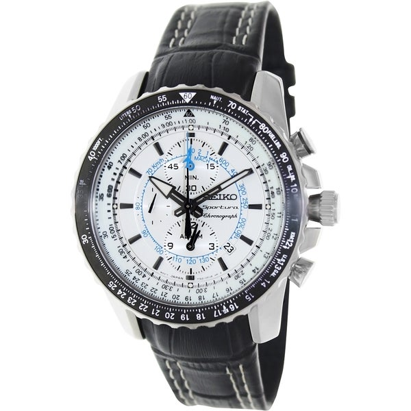 Seiko Men's Black Leather Strap White Dial Watch