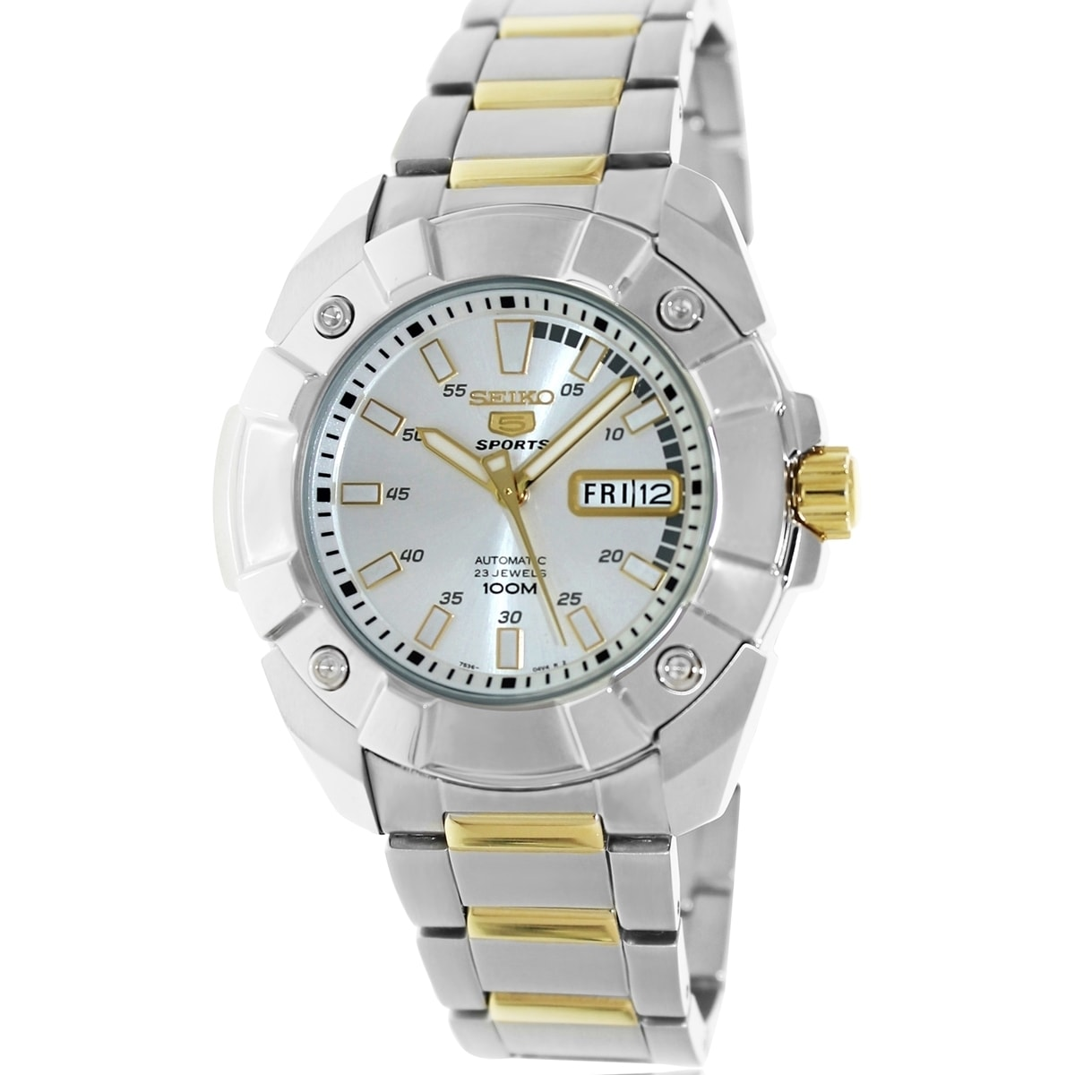 Seiko Men's 5 Automatic Two Tone Stainless Steel Bracelet Silvertone Dial Watch at Sears.com