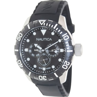 Nautica Men's Black Silicone Strap Black Dial Watch