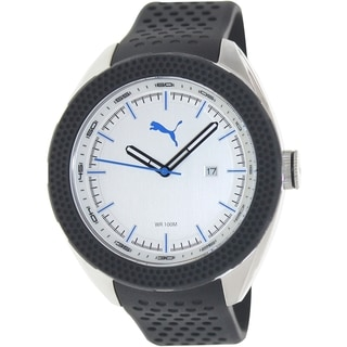Puma Men's Motorsport Black Silicone Strap Silvertone Dial Watch