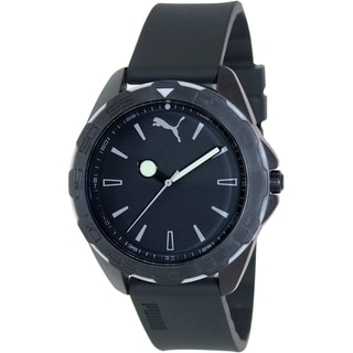 Puma Men's Black Silicone Strap Black Dial Analog Quartz Watch
