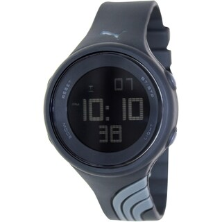 Puma Men's Black Plastic Strap Black Dial Watch