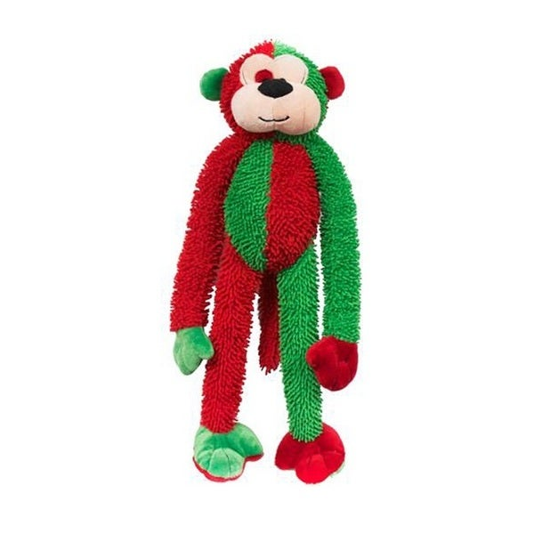 Multipet 18-inch Christmas Monkey Plush Pet Dog Toy