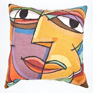 Dundee Design Multi-colored Face Throw Pillow (India)