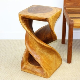Hand-carved 12 x 23 Golden Oak Oiled Double Twist Stool (Thailand)