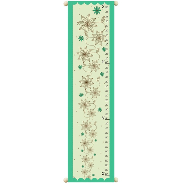 Girls Canvas Flowers on Green Growth Chart