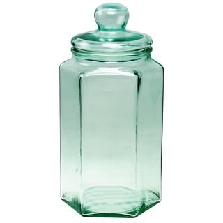 Recycled Glass Bottles Hexagon Jar
