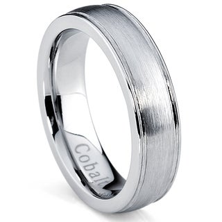 Oliveti Cobalt Men's Brushed Dome Center Comfort Fit Ring (5 mm)
